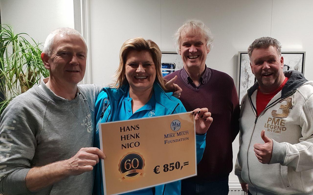MMF ontvangt € 850,- na verjaardagsfeest Henk, Hans en Nico.